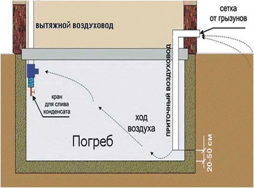Система вентилирования в погребе