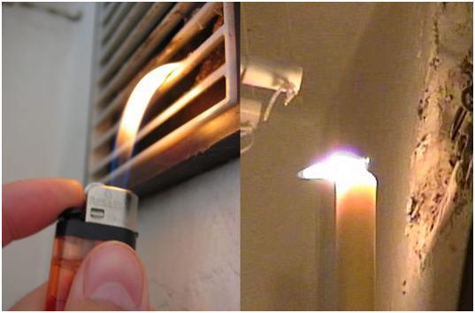 Проверка вытяжки при помощи огня