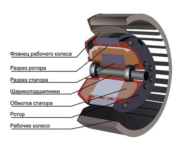 Рисунок радиального вентилятора в разрезе