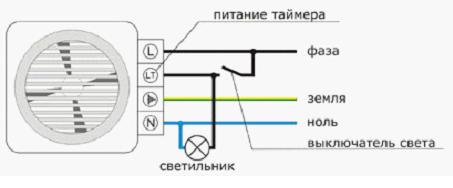 Схема подключения устройства с таймером