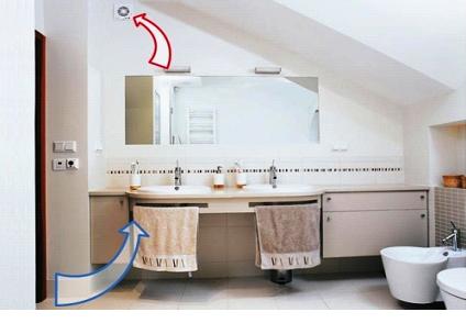 Потоки воздуха в ванной комнате