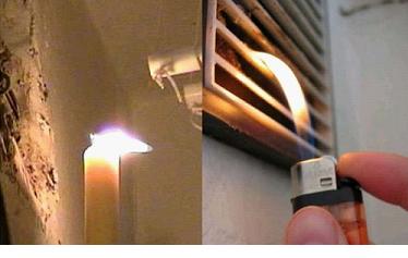 Пламя возле вентиляционной решетки