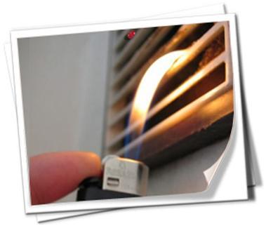 Пламя возле вентиляционного отверстия