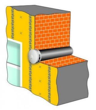 Стена с воздуховодом в разрезе