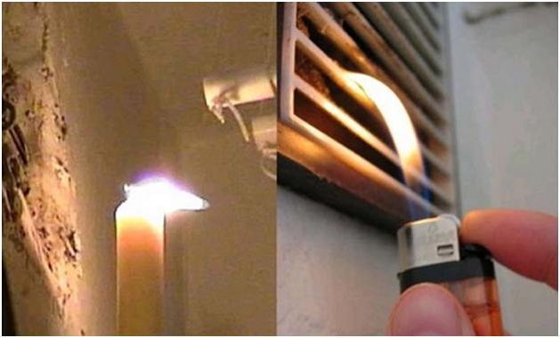 Огонь возле вентиляционного оверстия