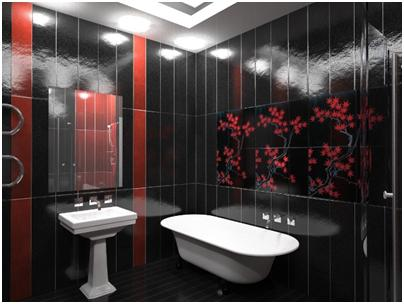 Стильная ванная комната в темных тонах