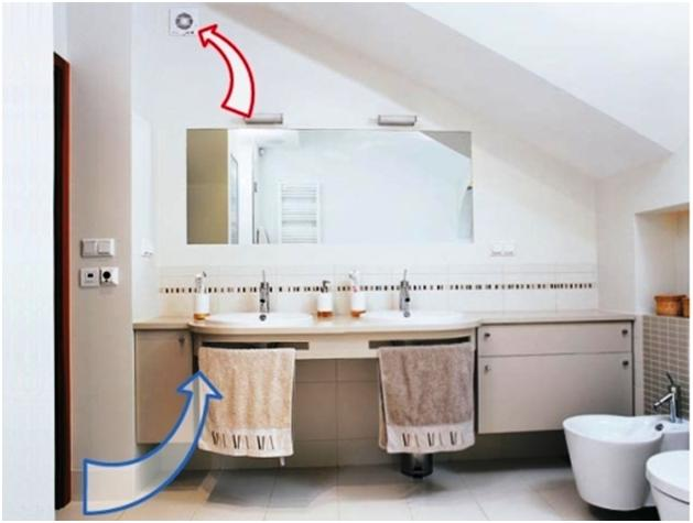 Направление воздушных потоков в ванной