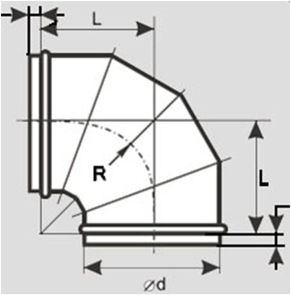 Типовой чертеж элемента воздуховода