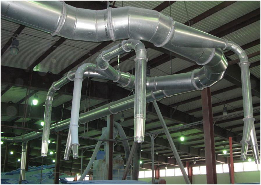 Система воздушных каналов в цеху