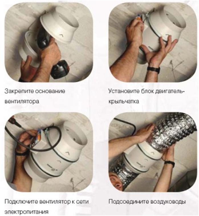 Пошаговая установка канального нагнетателя воздуха