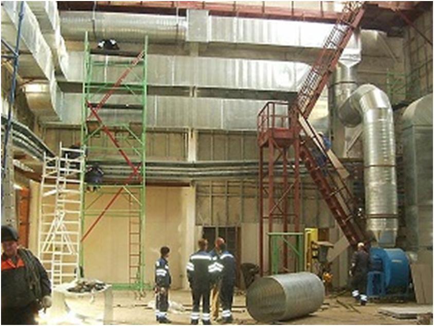 Установка вентиляционного оборудования на производственном объекте