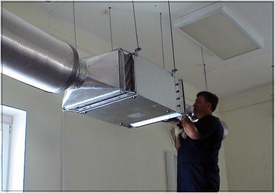 Установка вентилятора в воздуховодный канал