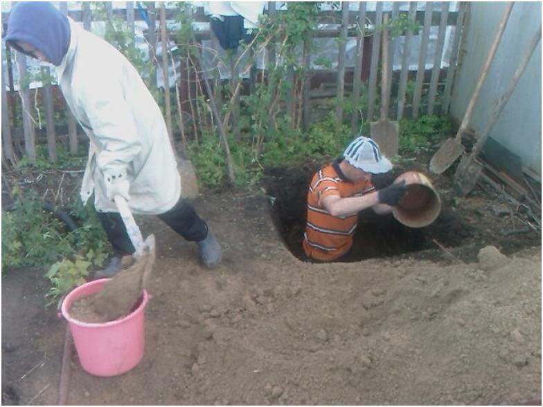 Подготовка резервуара для отходов