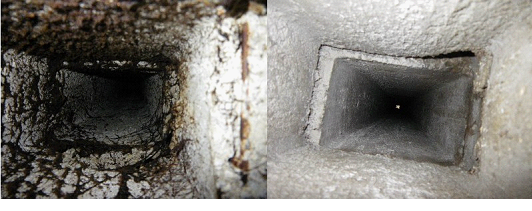 Вентиляционная шахта до и после очистки