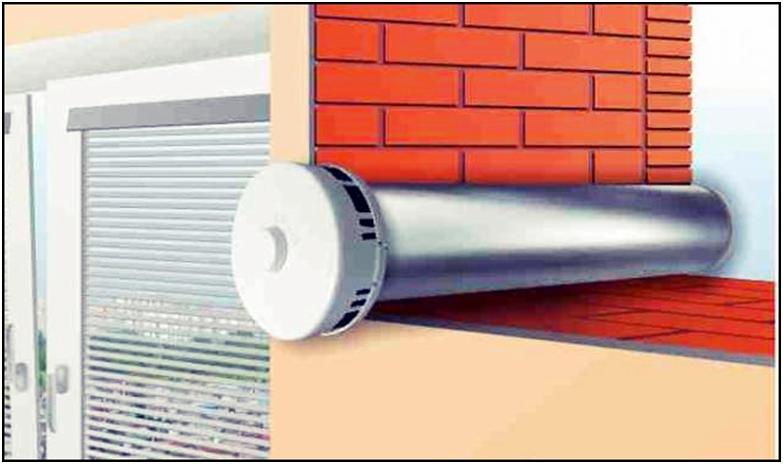 Размещение стенового клапана