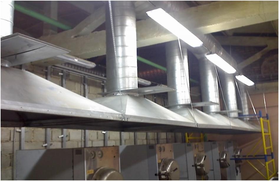 Вытяжная вентиляция промышленного помещения