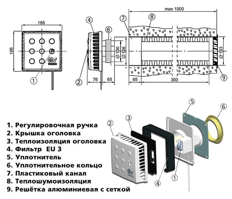 Устройство стенового клапана вентиляции