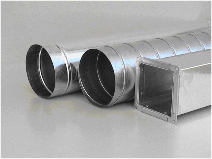 Круглая и квадратная вентиляционные трубы
