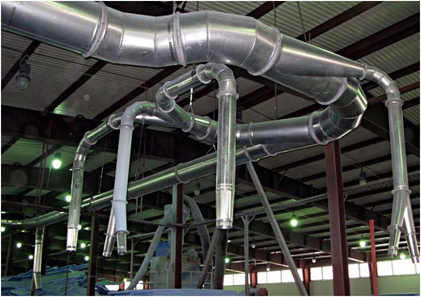 Система воздуховодных каналов на предприятии